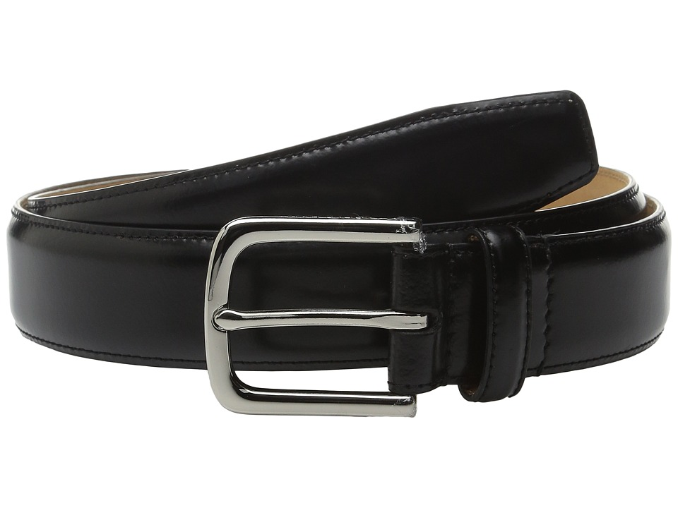 Cole Haan - 32mm Spazzolato Feather Edge Stitched Strap (Black) Men's Belts