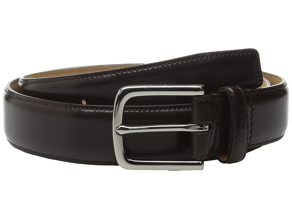 Cole Haan - 32mm Spazzolato Feather Edge Stitched Strap (Chocolate) Men's Belts