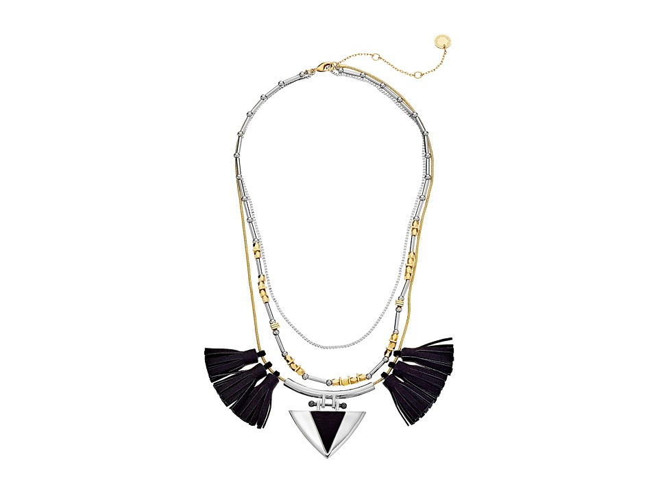 French Connection - 3 Strand Tassel Dagger Necklace (Silver/Gold/Black) Necklace