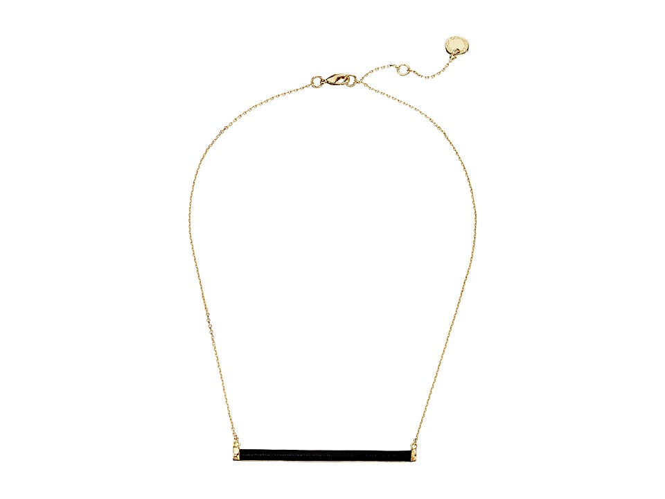 French Connection - Leather Wrapped Tube Horizontal Pendant Necklace (Gold/Black) Necklace