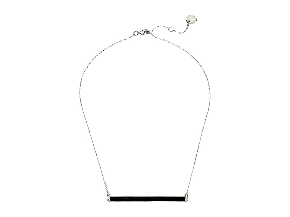 French Connection - Leather Wrapped Tube Horizontal Pendant Necklace (Silver/Black) Necklace