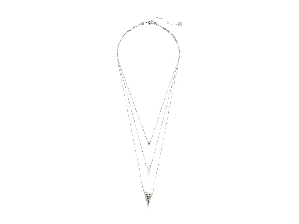 French Connection - Triangle Charm Necklace (Rhodium/Clear Stone) Necklace