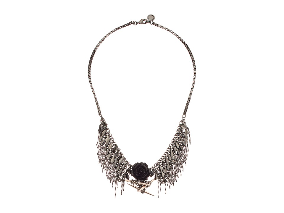 French Connection - Shaky Frontal Necklace (Hematite/Rose Gold/Black) Necklace