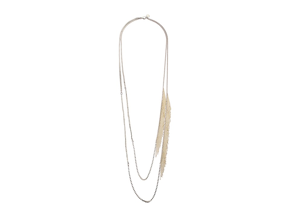 French Connection - Asymmetrical Chain Fringe Necklace (Silver/Gold) Necklace