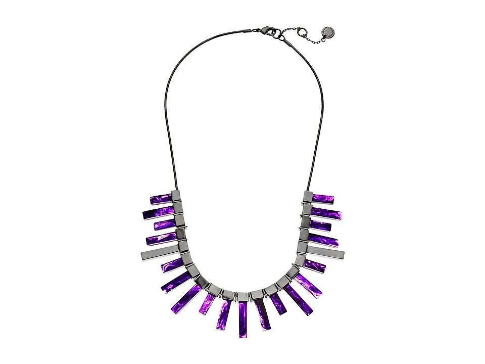French Connection - Radial Frontal Necklace (Hematite/Purple) Necklace