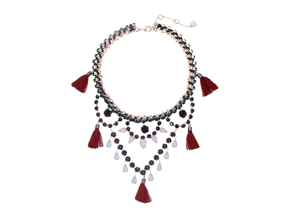 French Connection - Drama Swag Necklace (Hematite/Rose Gold/Silver/Multicolor) Necklace