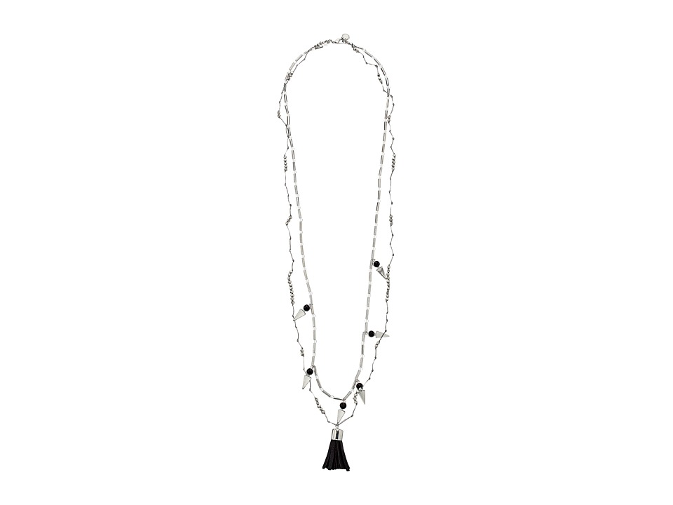 French Connection - Double Strand Prayer Bead Dagger Pendant Necklace (Silver/Black) Necklace