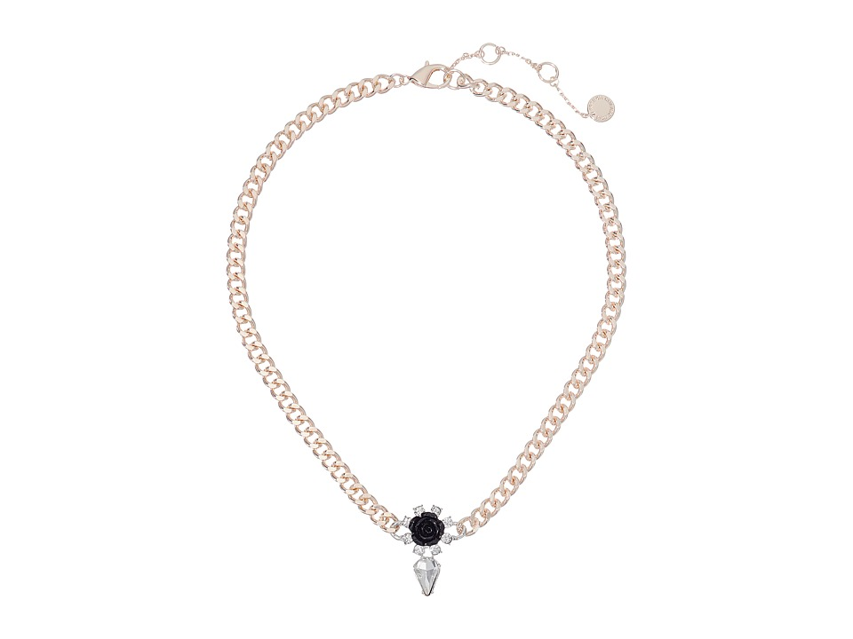 French Connection - Rose Crystal Center Rose Necklace (Rose Gold/Silver/Clear Stone/Black) Necklace