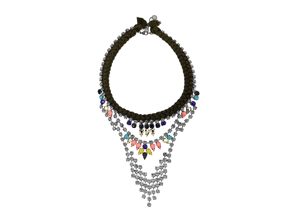 French Connection - Braided Rhinestone Necklace (Hematite/Multicolor) Necklace