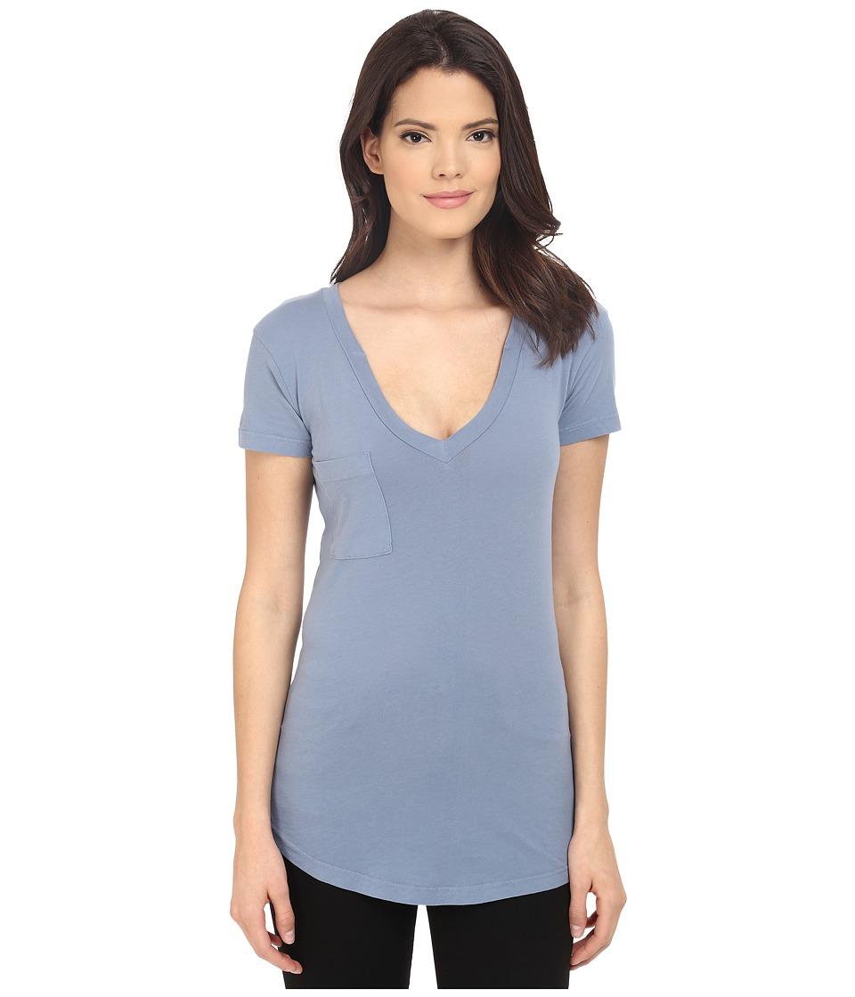 LAmade - V-Pocket Tee - Tissue Jersey (Fresia Blue) Women's Short Sleeve Pullover