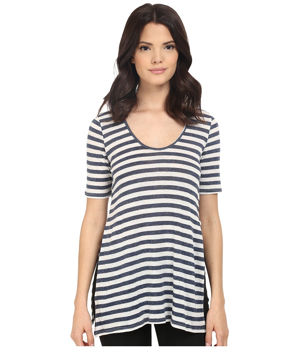 LAmade - Alyssa Tunic (Navy/Natural) Women's Short Sleeve Pullover