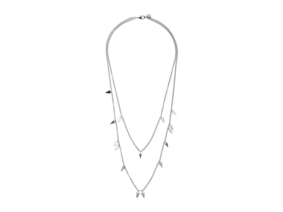 French Connection - Triangle Charm Necklace (Rhodium/Clear Stone 1) Necklace