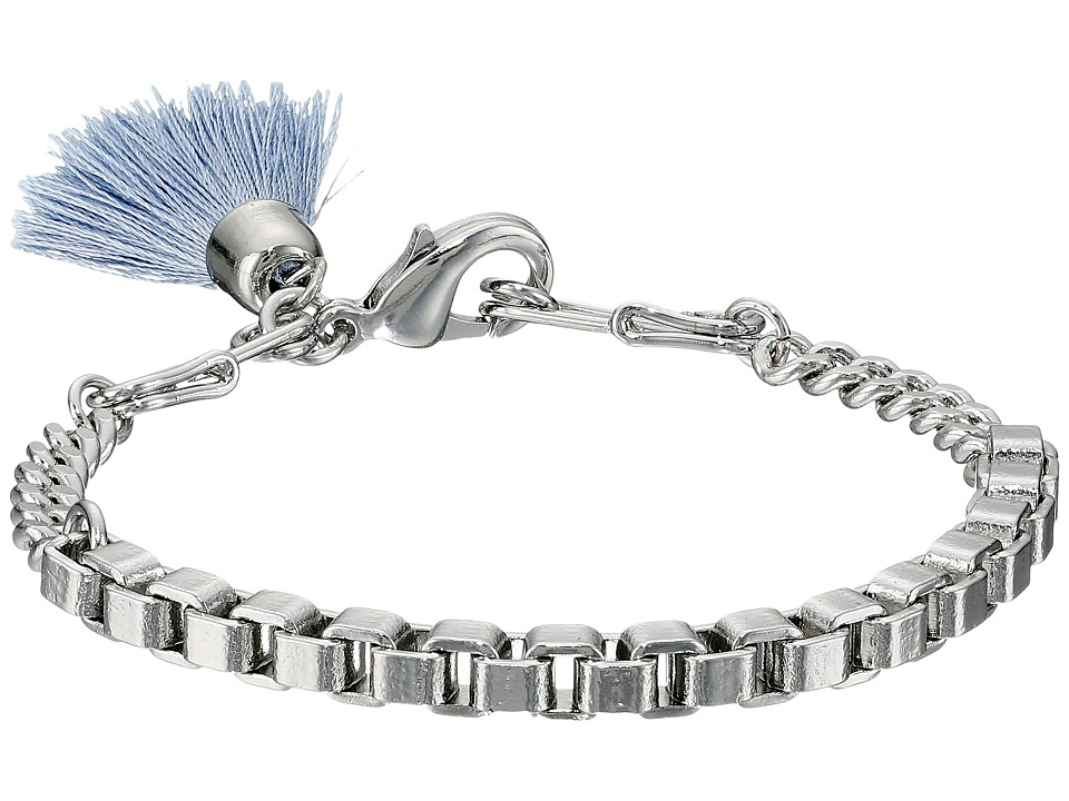 French Connection - Safety Pin Tassel Bracelet (Silver/Light Blue) Bracelet