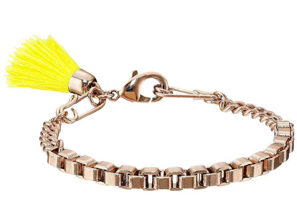 French Connection - Safety Pin Tassel Bracelet (Rose Gold/Yellow) Bracelet