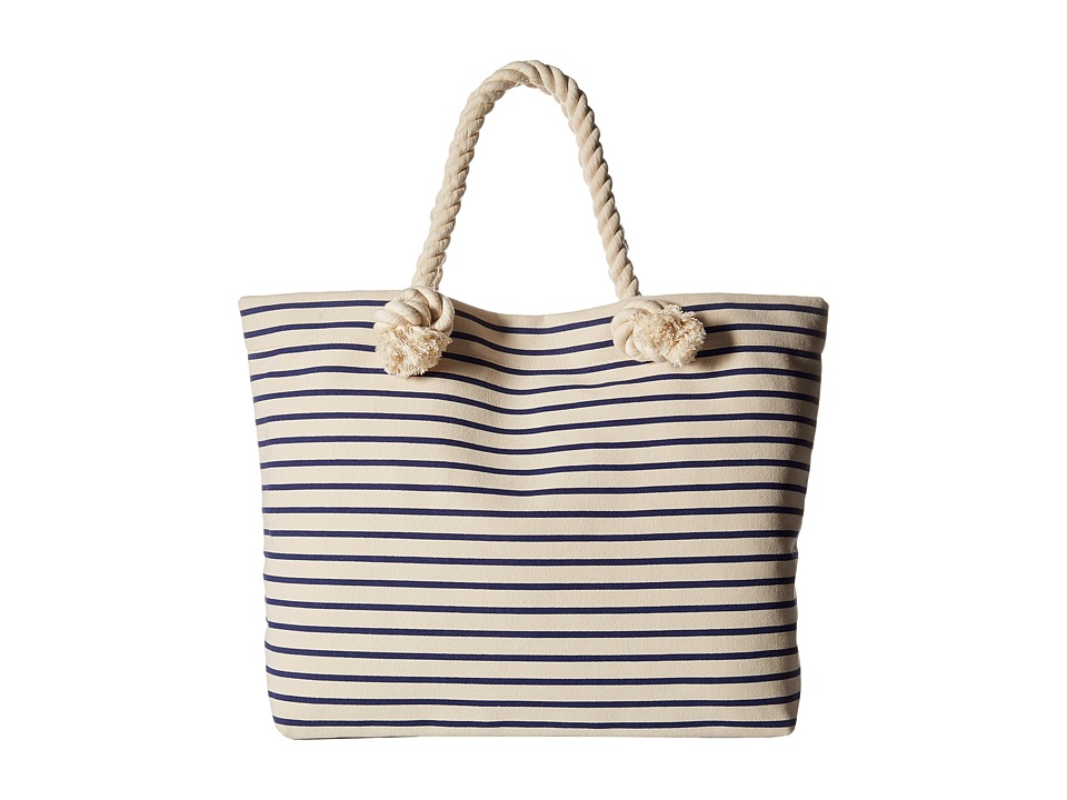Hat Attack - Perfect Canvas Beach Tote (Navy Stripe) Tote Handbags