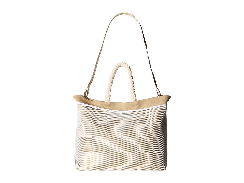 Hat Attack - Canvas Mesh Pocket Tote (Khaki) Tote Handbags