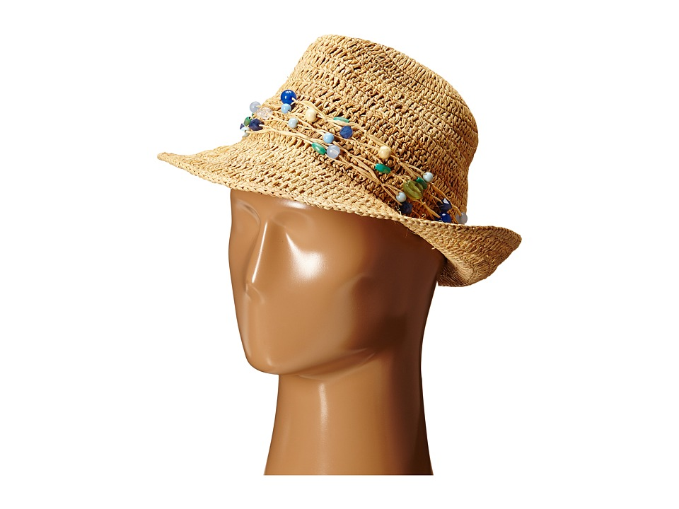 Hat Attack - Raffia Open Weave Fedora with Multi Stone Trim (Natural/Blue) Fedora Hats