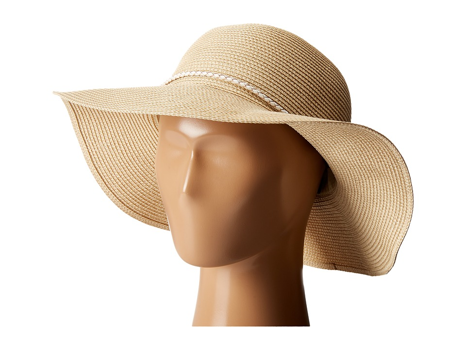 Hat Attack - Fine Braid Sunhat with Tubular Cord Trim (Natural/White) Traditional Hats