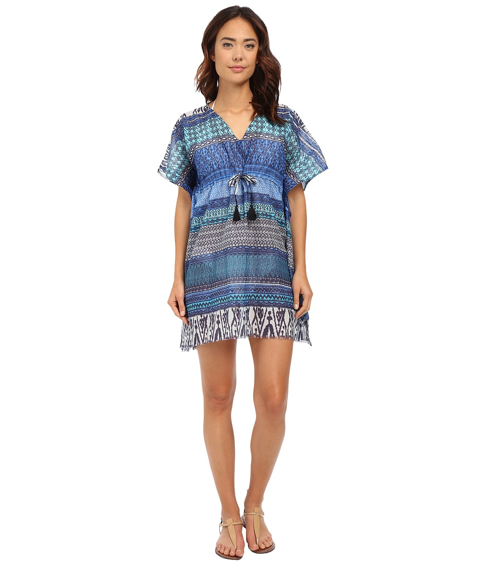 Hat Attack - Print Cover-Up with Tassels (Blues Multi) Women's Swimwear