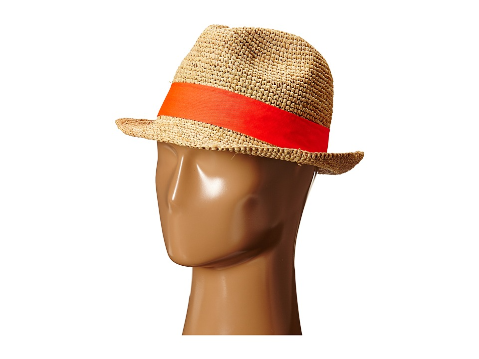 Hat Attack - Raffia Crochet Short Brim with Bi Color Trim (Natural/Watermelon/Ivory) Fedora Hats