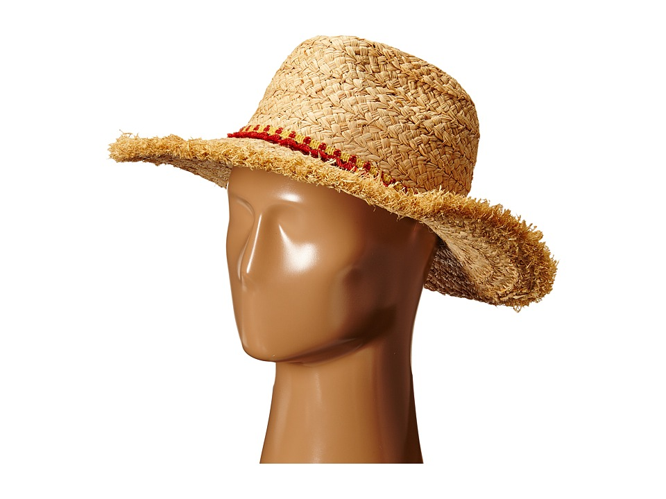 Hat Attack - Thick Raffia Braid Fringed Sunhat with Tassel Trim (Natural/Orange Tassels) Traditional Hats