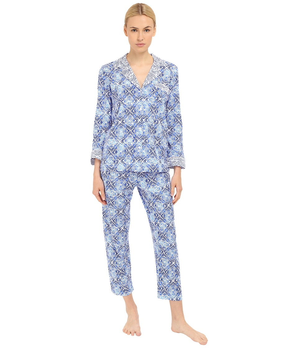 Oscar de la Renta - Oscar Signature Pajama (Blue Diamond Grid) Women's Pajama Sets