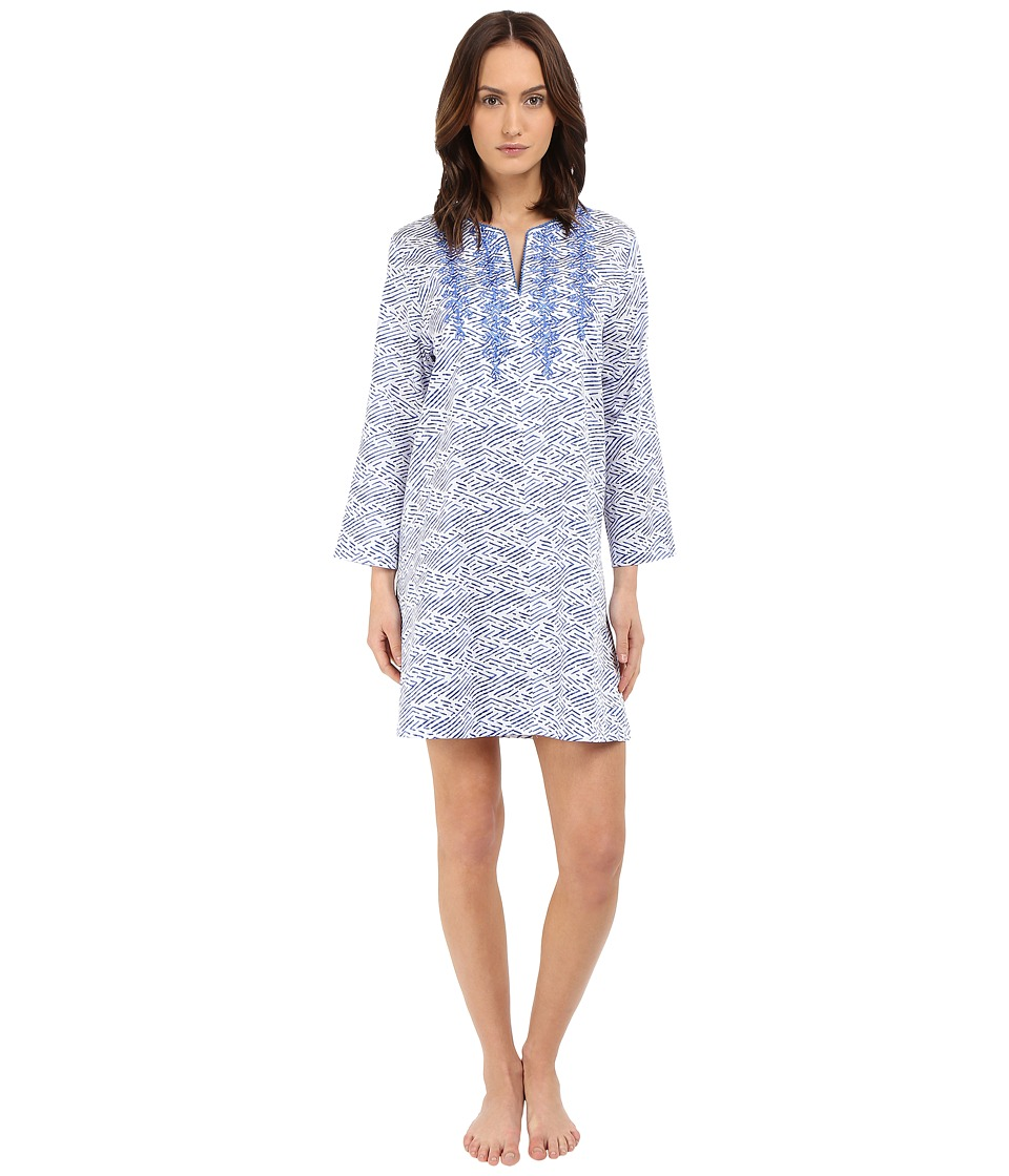 Oscar de la Renta - Cotton Sateen Sleepshirt (Blue Linear Reflection) Women's Pajama