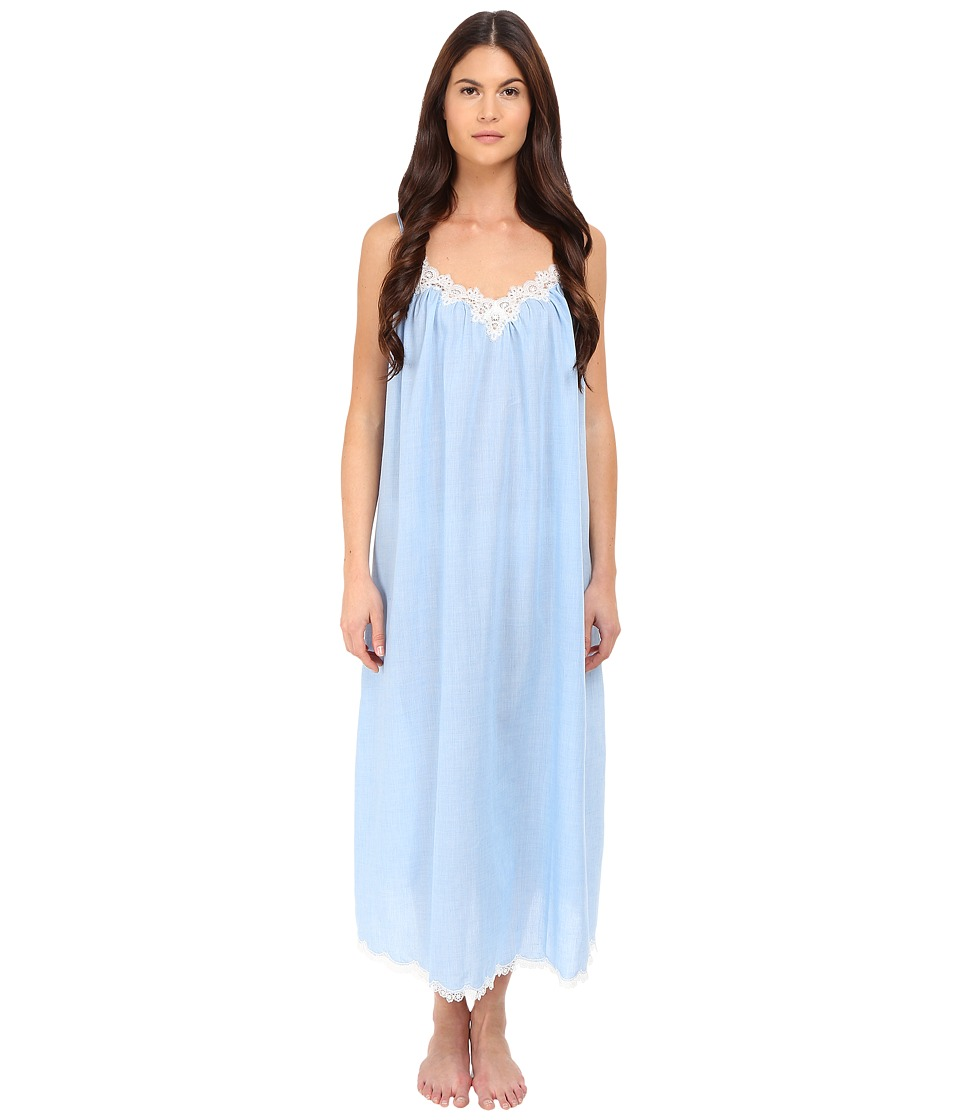 Oscar de la Renta - Cross-Dyed Poly/Cotton Long Gown (Pale Blue) Women's Pajama