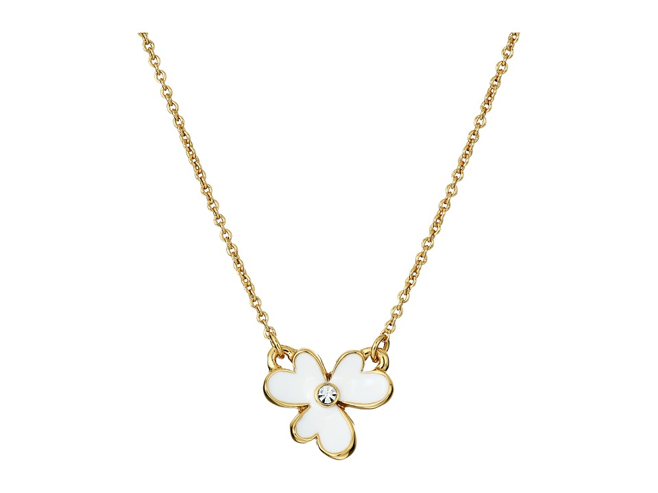 Kate Spade New York - Pansy Blossoms Mini Pendant Necklace (White) Necklace