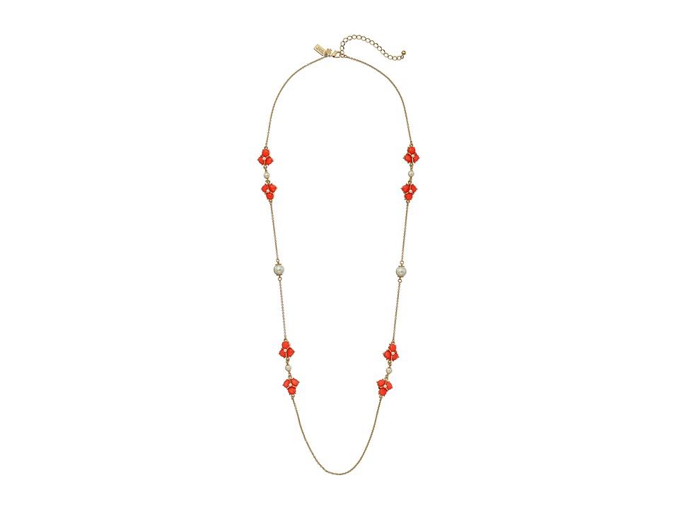 Kate Spade New York - Crystal Cluster Scatter Necklace (Coral) Necklace