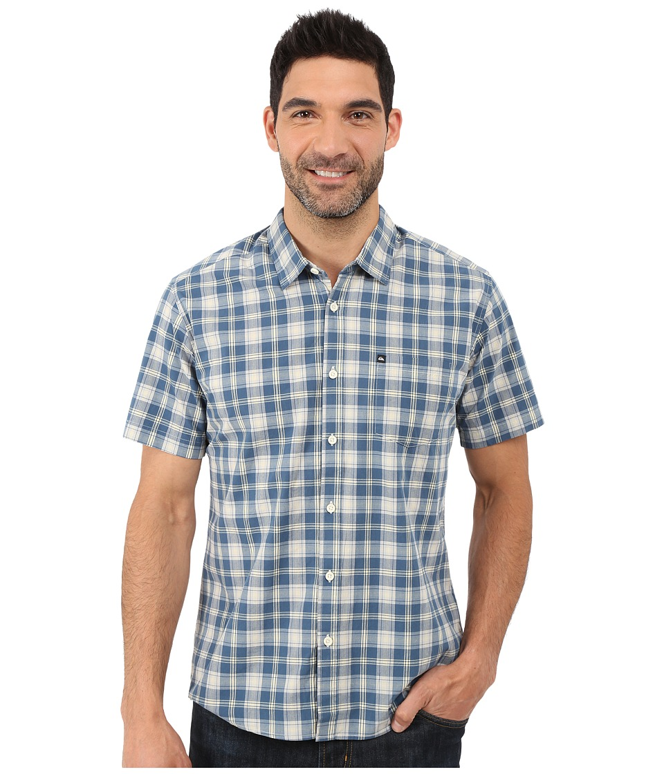 Quiksilver - Everyday Check Short Sleeve Woven (Denim) Men's Clothing