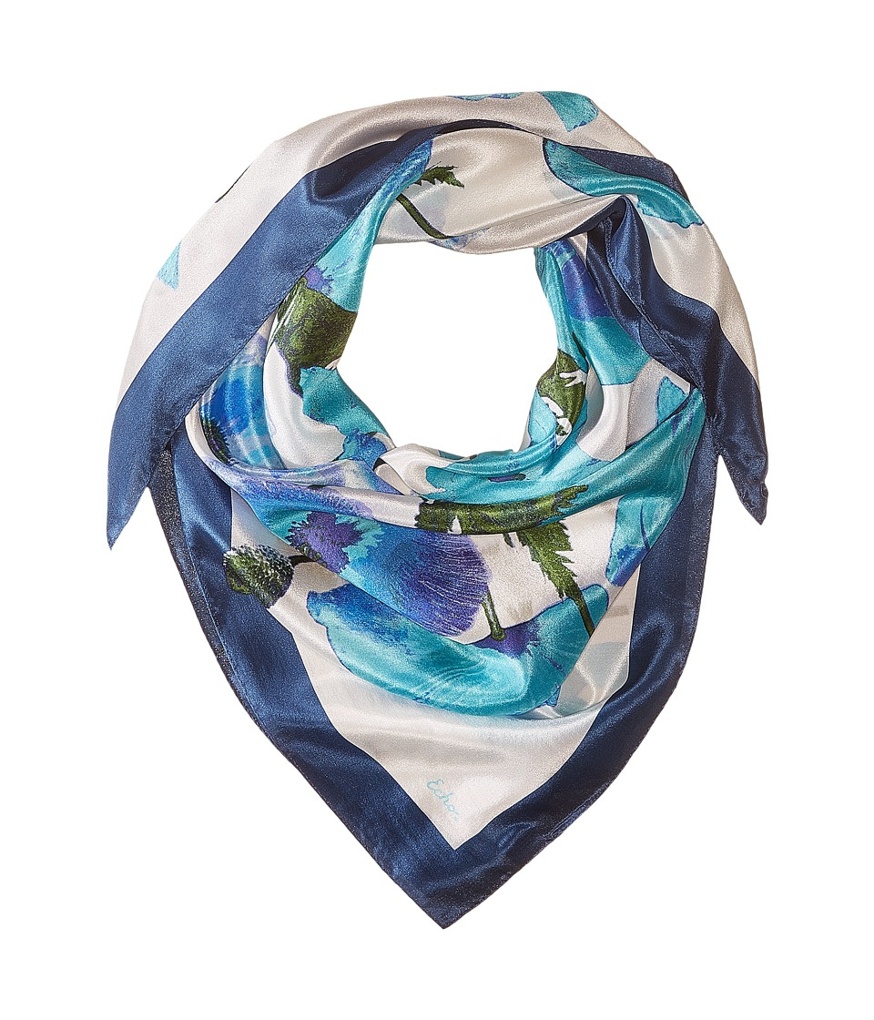 Echo Design - Paper Poppies Square (Blue Wave) Scarves