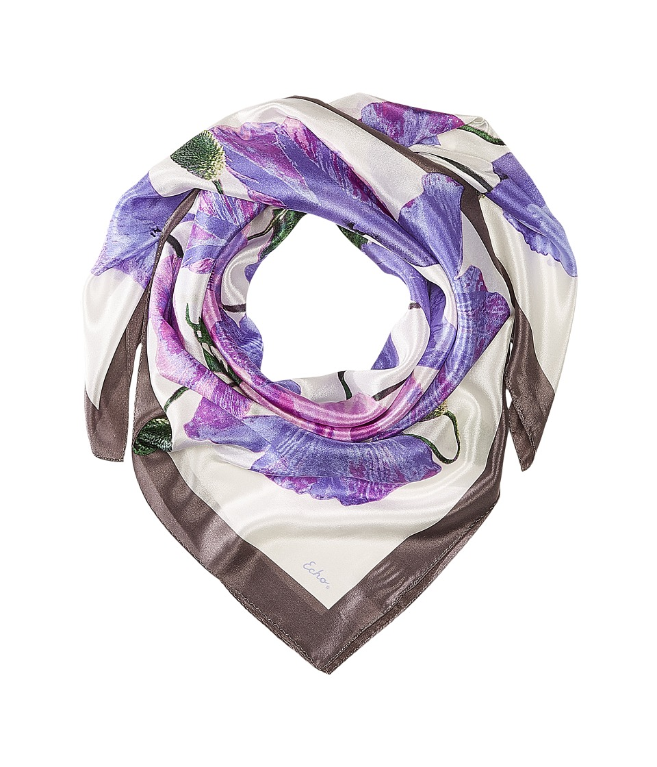 Echo Design - Paper Poppies Square (Dark Amethyst) Scarves