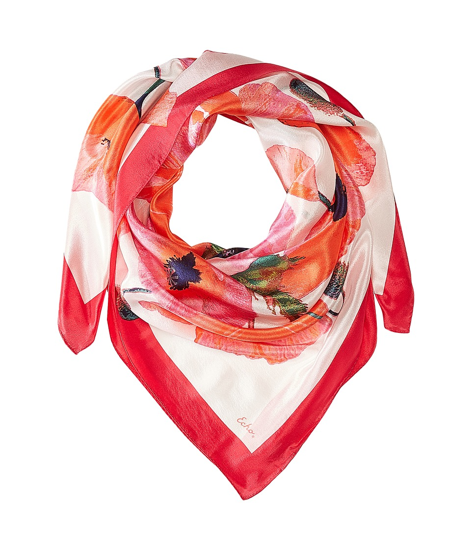 Echo Design - Paper Poppies Square (Bright Coral) Scarves