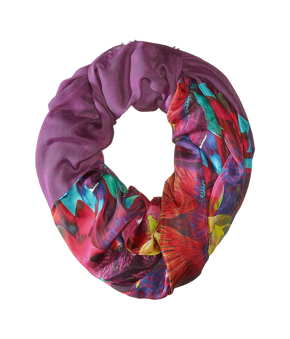 Echo Design - Parrot Feathers Tubular Wrap (Fuchsia Flower) Scarves