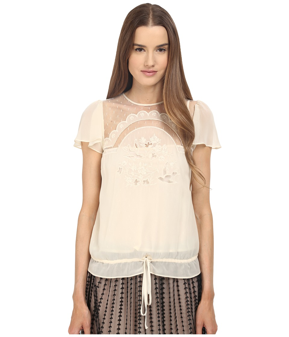 RED VALENTINO - Cut Out Embroidery Point D'esprit Blouse (White) Women's Blouse