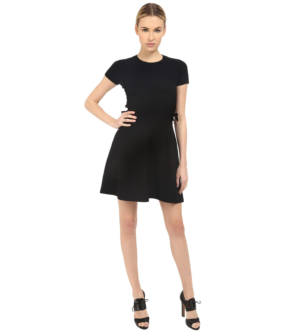 RED VALENTINO - Fit Flare Dress with Tie (Black) Women's Dress