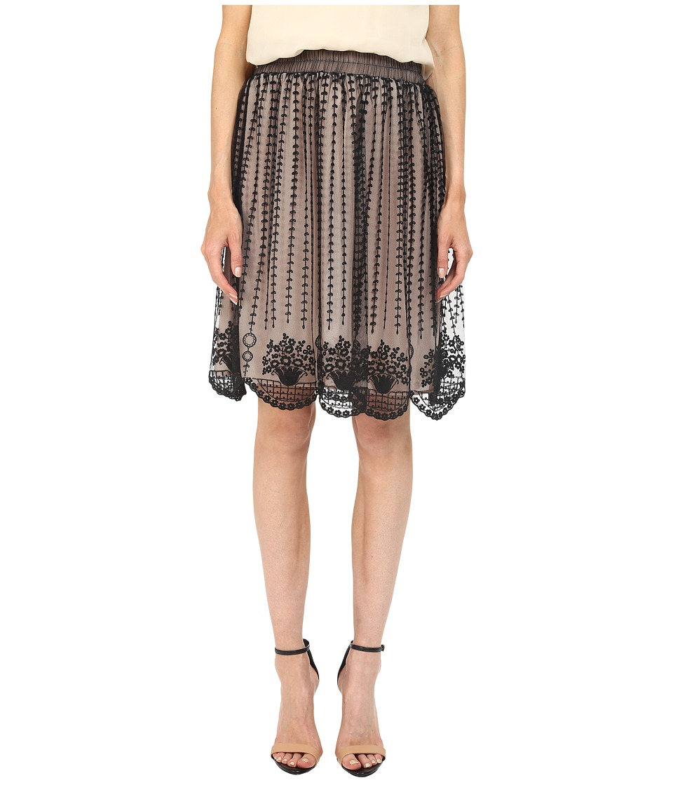RED VALENTINO - Fit Flare Tulle Skirt (Black) Women's Skirt