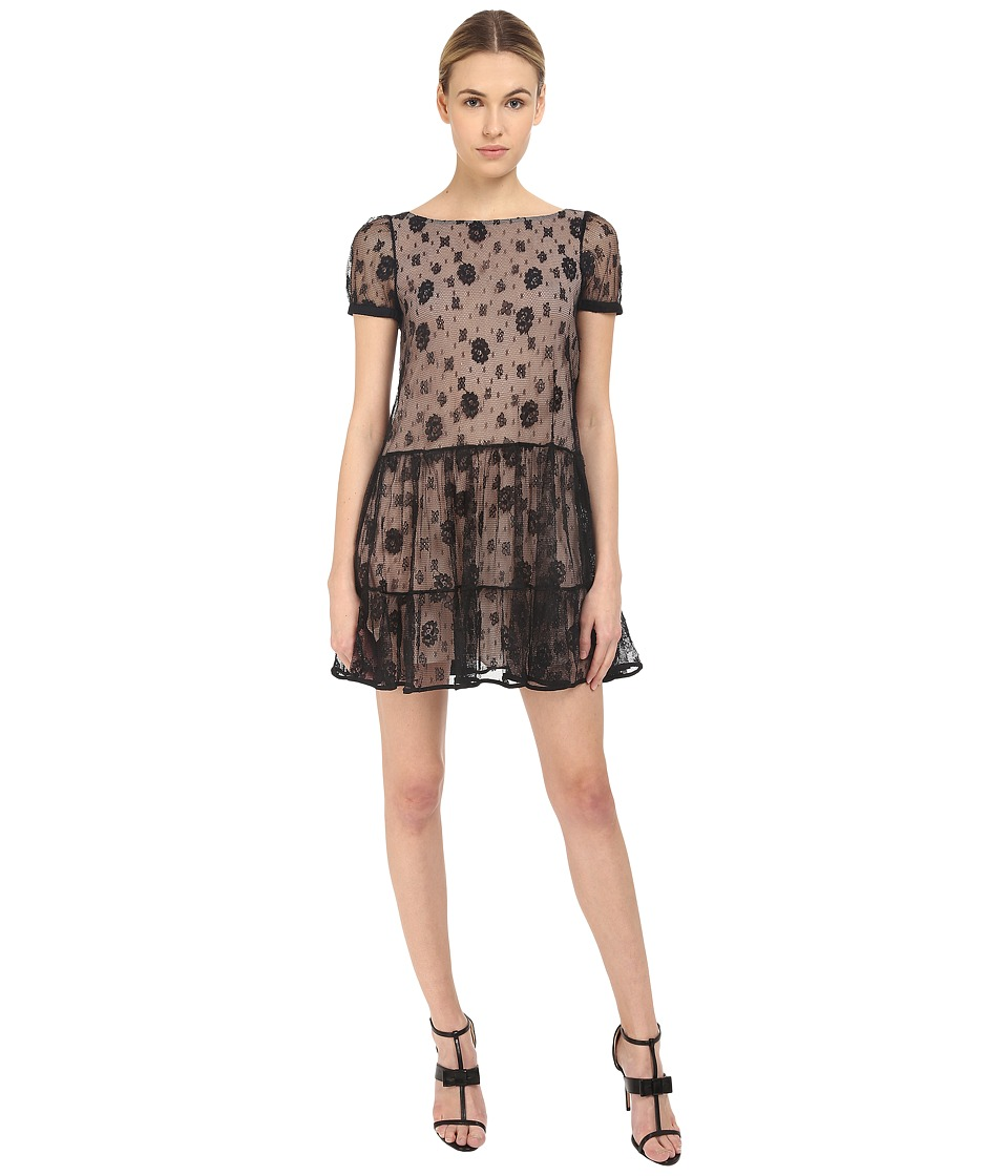 RED VALENTINO - Lace Overlay Dress (Black) Women's Dress