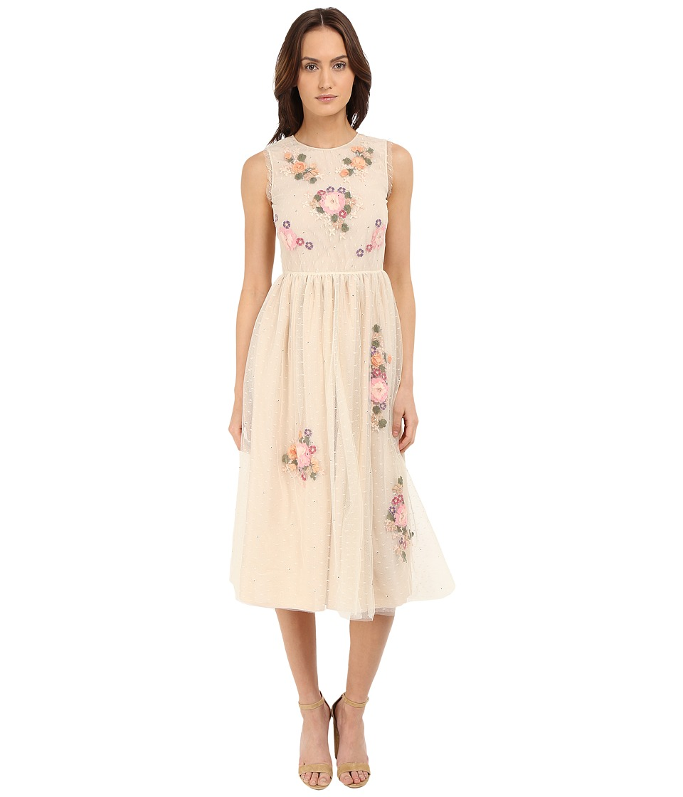 RED VALENTINO - Floral Long Lace Dress (Pink) Women's Dress