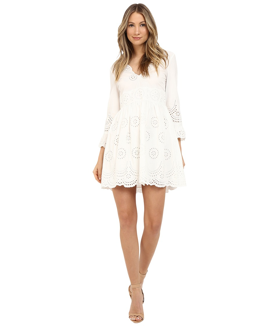 RED VALENTINO - V-Neck Eyelet Dress (White) Women's Dress