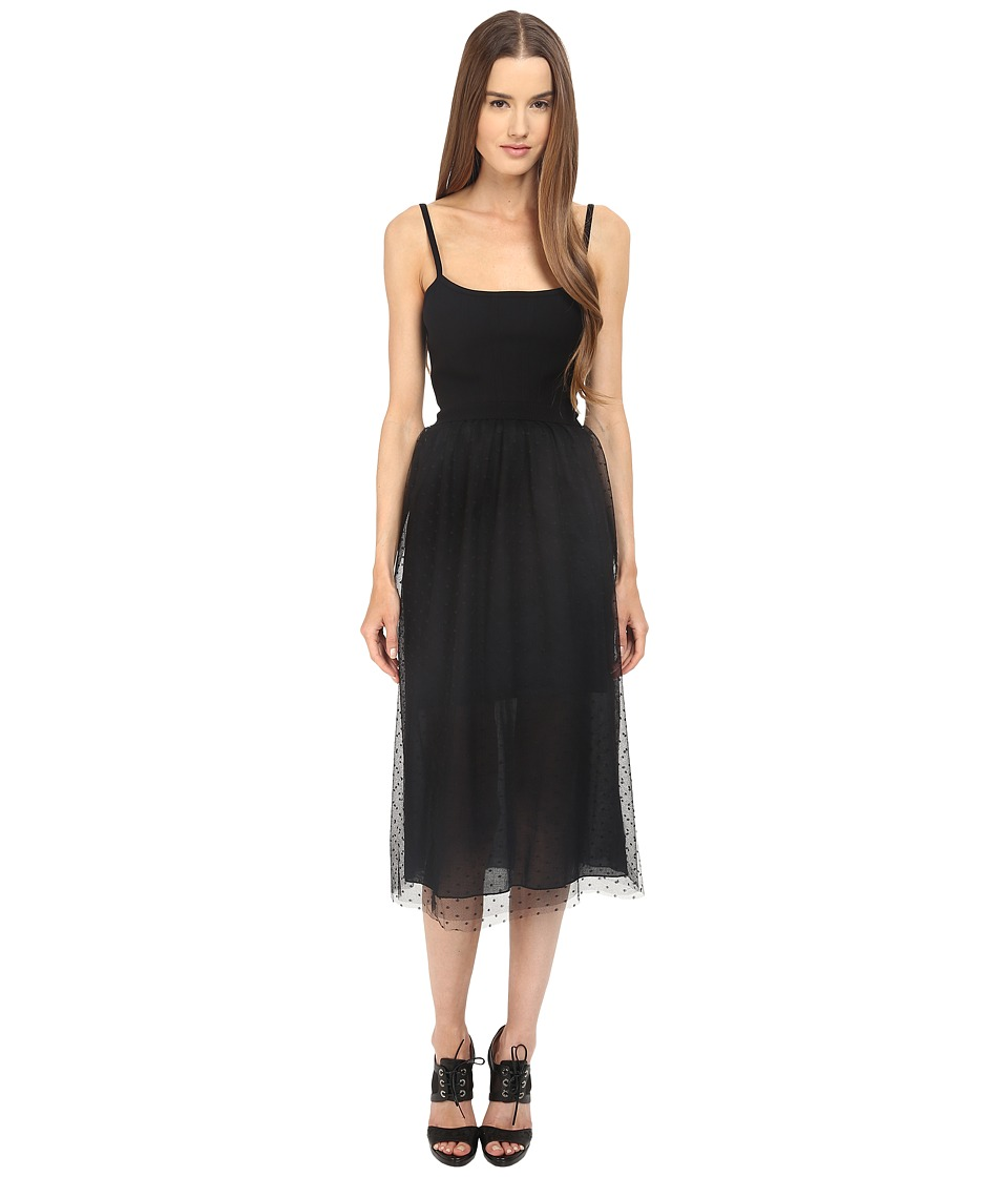 RED VALENTINO - Fit Flare Tank Knit Dress (Black) Women's Dress