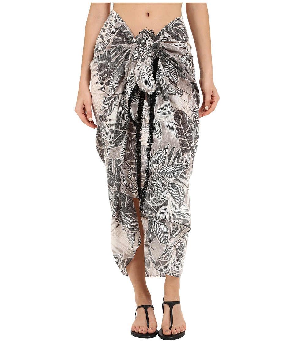 Echo Design - Tahitian Palm Pareo Cover-Up (Black) Scarves
