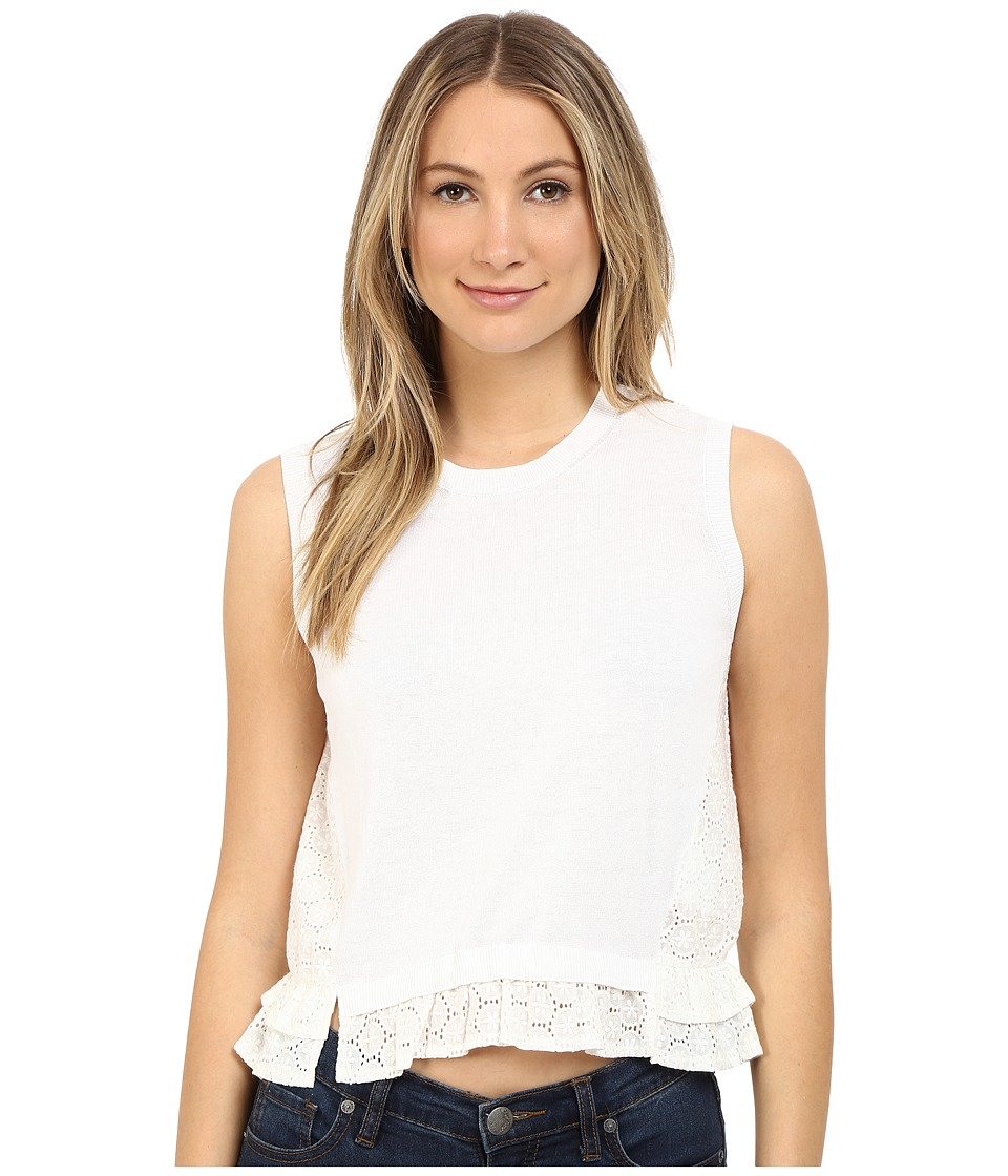 RED VALENTINO - Sangallo Back Knit Tank Top (White) Women's Sleeveless