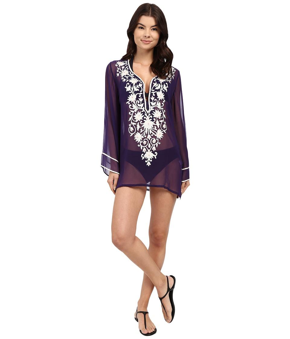 Ella Moss - Stella Embroidered Tunic Cover-Up (Purple) Women's Swimwear