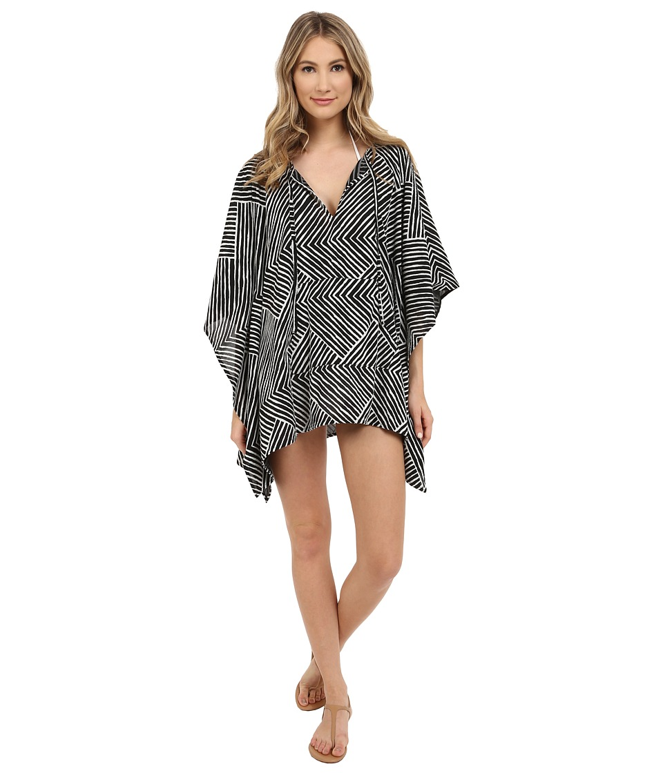Echo Design - Paradise Weave Kangaroo Poncho Cover-Up (Black) Women's Swimwear
