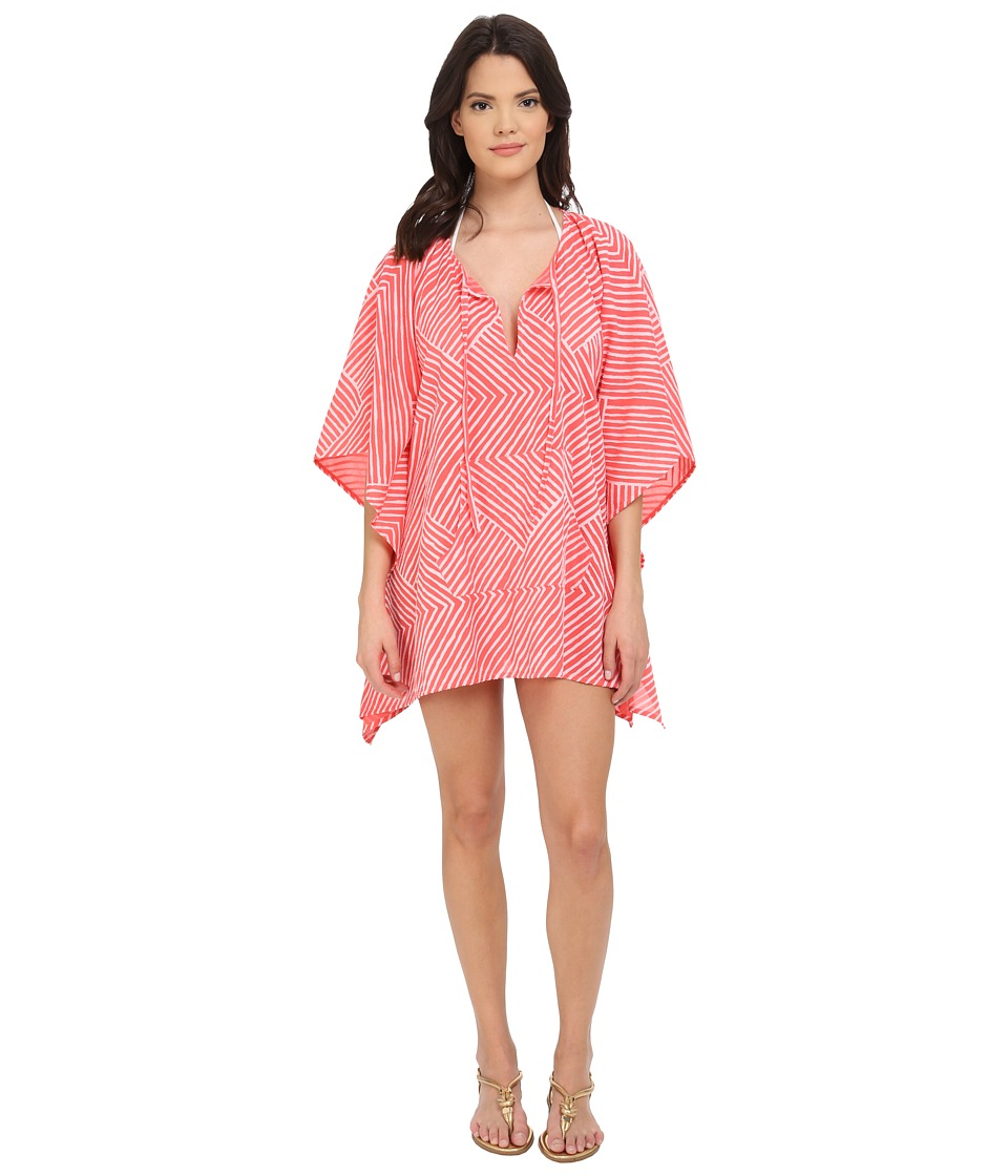 Echo Design - Paradise Weave Kangaroo Poncho Cover-Up (Bright Coral) Women's Swimwear
