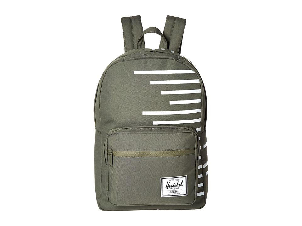 Herschel Supply Co. - Pop Quiz (Deep Lichen Green/Blanc de Blanc Stripes) Backpack Bags