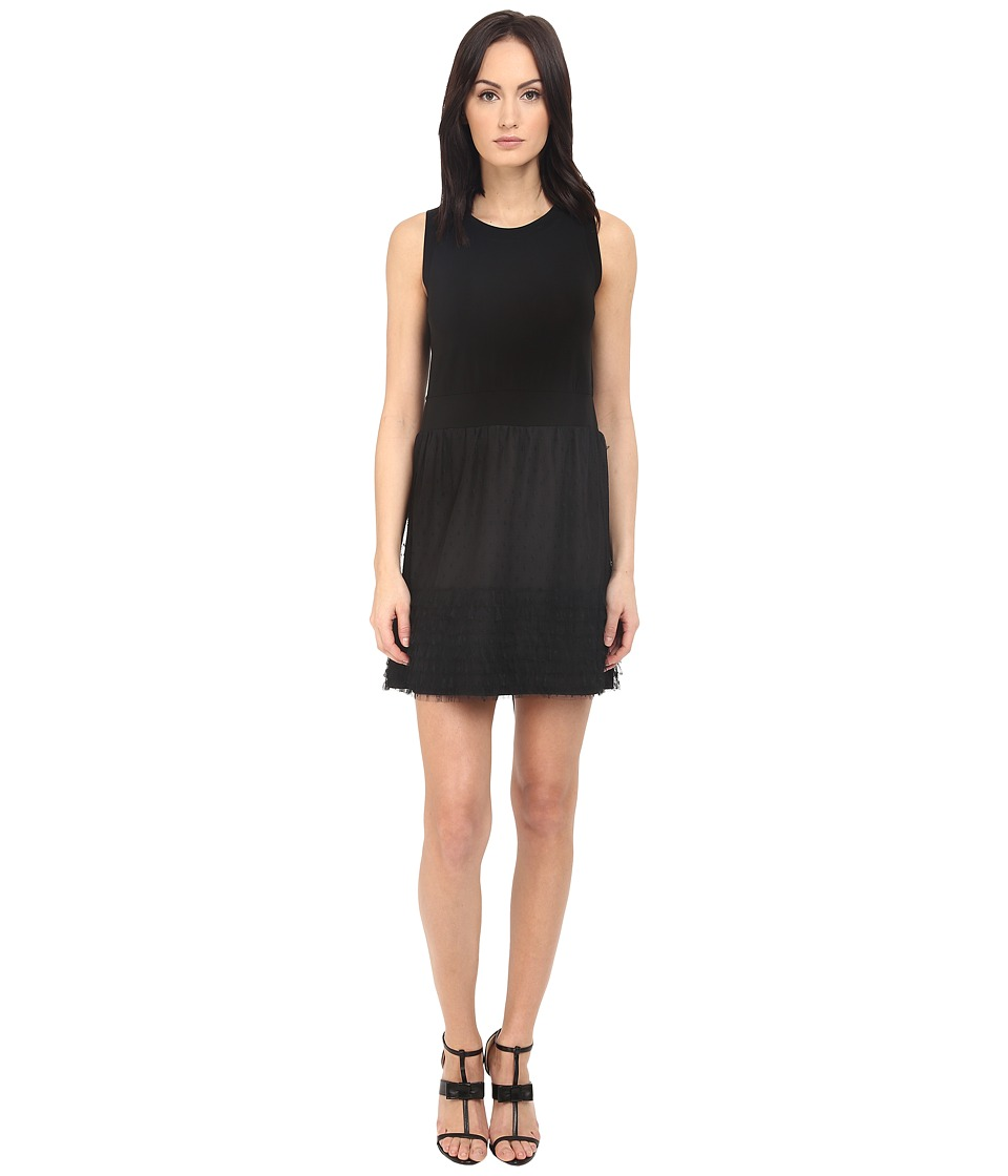 RED VALENTINO - Tie Ruffle Dress (Black) Women's Dress