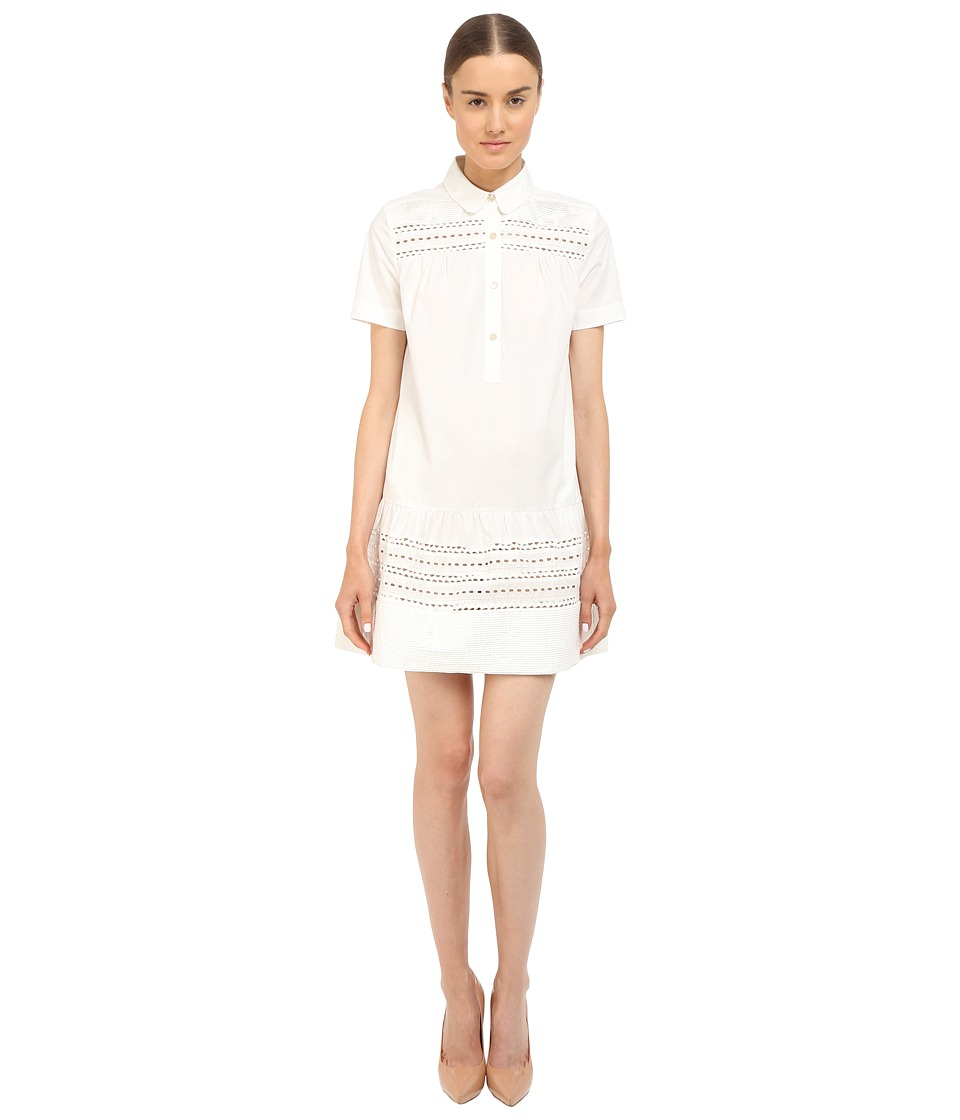 RED VALENTINO - Polka Dot Cut Out Embroidery Dress (White) Women's Dress